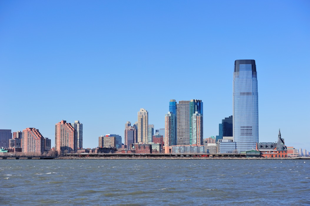 New Jersey Hoboken skyline with skyscrapers over Hudson River viewed from New York City Manhattan downtown.